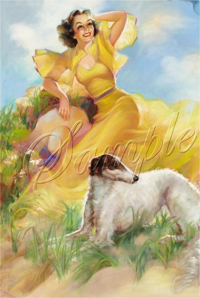 VINTAGE CALENDAR GIRL WOLFHOUND DOG CANVAS ART PRINT