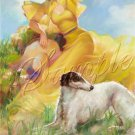 VINTAGE CALENDAR GIRL WOLFHOUND DOG CANVAS ART PRINT