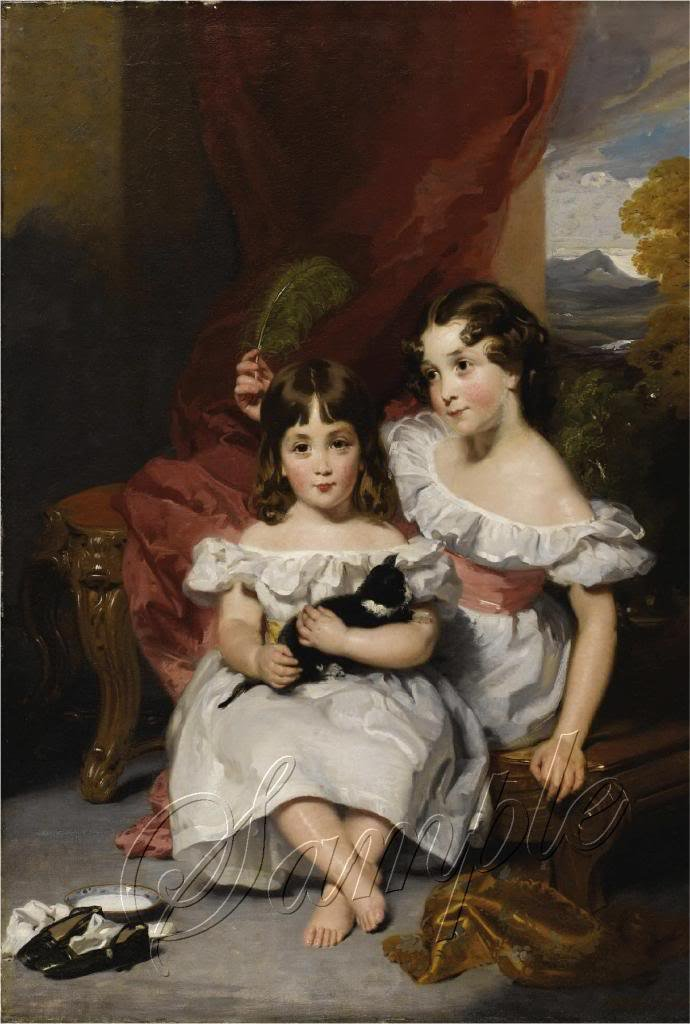 VICTORIAN CHILDREN SISTERS CAT KITTEN CANVAS ART- LARGE