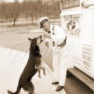 VINTAGE GOOD HUMOR MAN GERMAN SHEPHERD CANVAS PRINT BIG