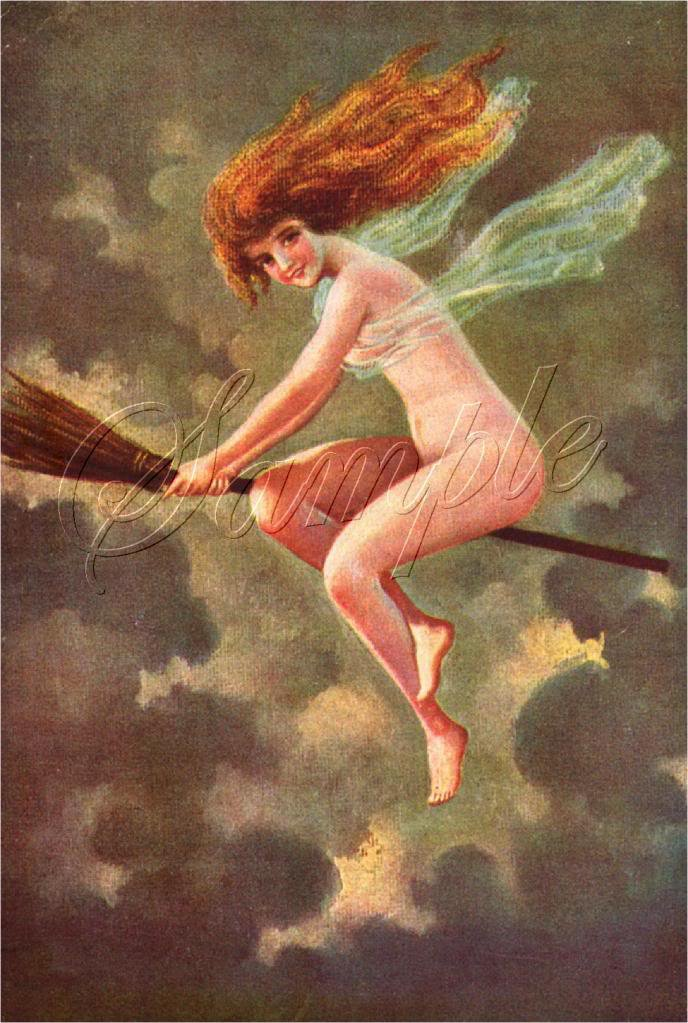 VINTAGE RISQUE CUTE WITCH WICCA BROOM FLYING CANVAS ART