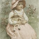 VINTAGE GIRL ANTIQUE DOLL BUTTERFLIES CANVAS ART- BIG