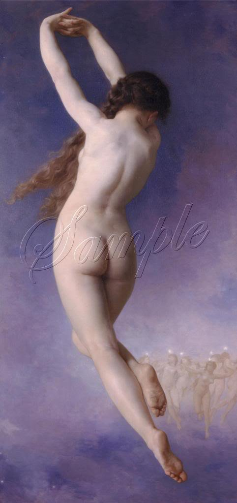 VINTAGE WITCH FLYING RISQUE NUDE WICCA CANVAS PRINT BIG