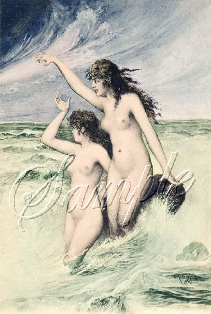VINTAGE MERMAIDS SIRENS RISQUE FANTASY CANVAS PRINT BIG