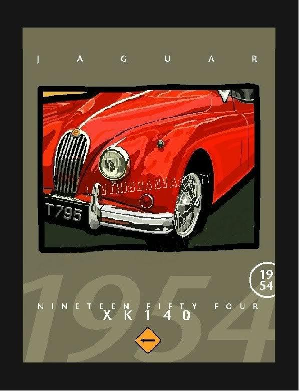 VINTAGE 1954 JAGUAR JAG CLASSIC CAR CANVAS ART PRINT