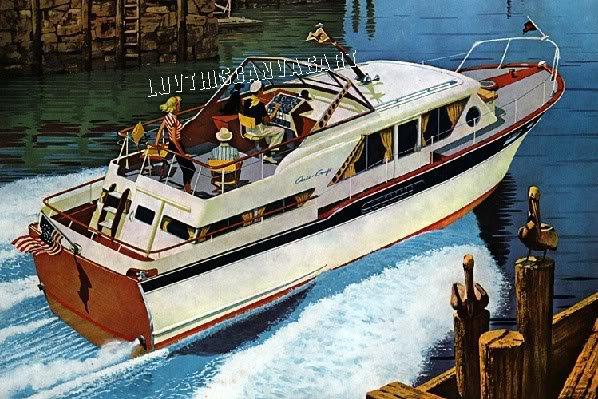 1961 CHRIS CRAFT PLEASURE BOAT CANVAS ART PRINT LARGE
