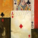 VINTAGE PLAYING CARDS ACE DIAMOND CANVAS ART PRINT BIG