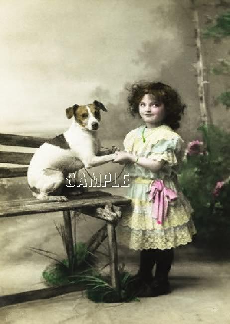 VINTAGE JACK RUSSELL DOG GIRL PHOTO CANVAS ART PRINT