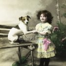 VINTAGE JACK RUSSELL DOG GIRL PHOTO CANVAS ART PRINT