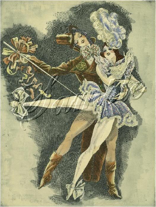 ART DECO BALLET DANCERS BALLERINAS COSTUME CANVAS PRINT