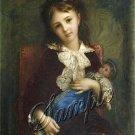 VINTAGE 1800's CHILD GIRL ANTIQUE DOLL LARGE CANVAS ART