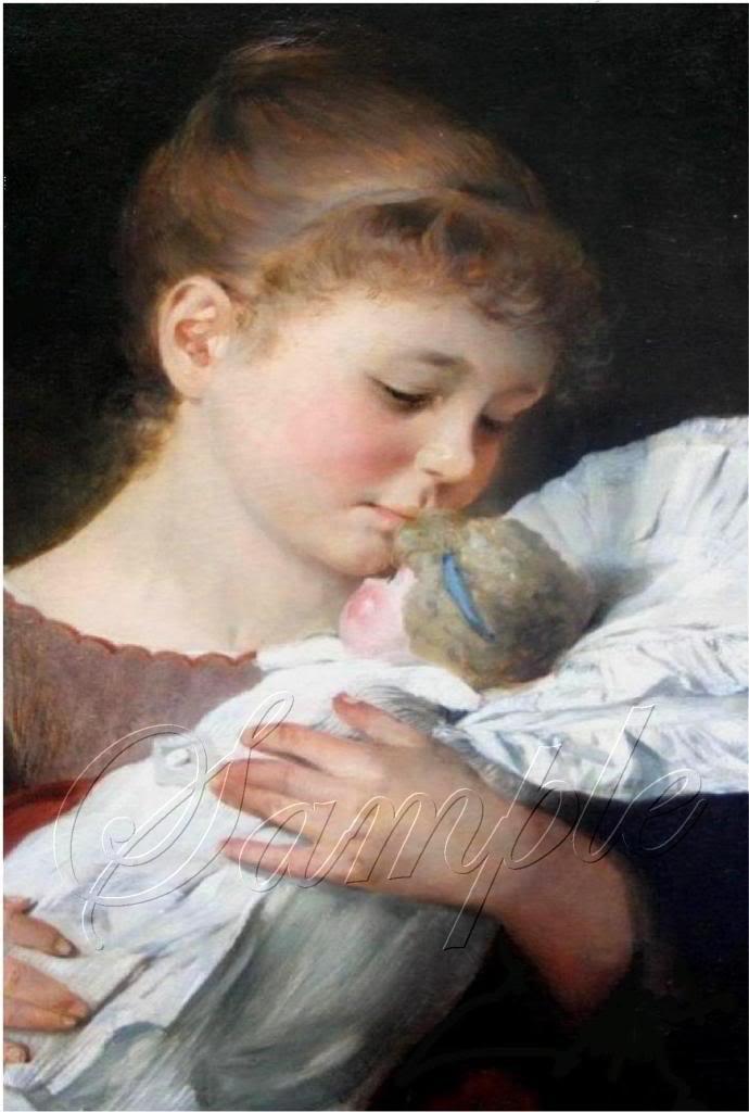 VINTAGE 1800's CHILD GIRL ANTIQUE DOLL CANVAS PRINT BIG