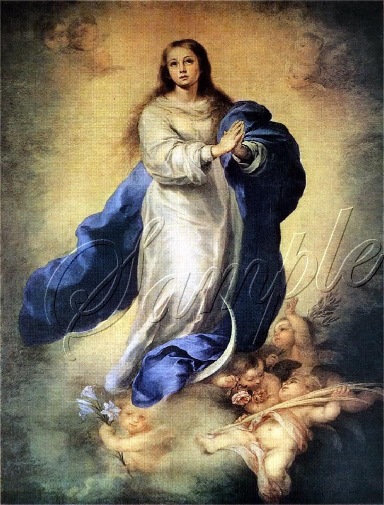 VINTAGE SACRED IMMACULATE HEART MARY CANVAS ART PRINT