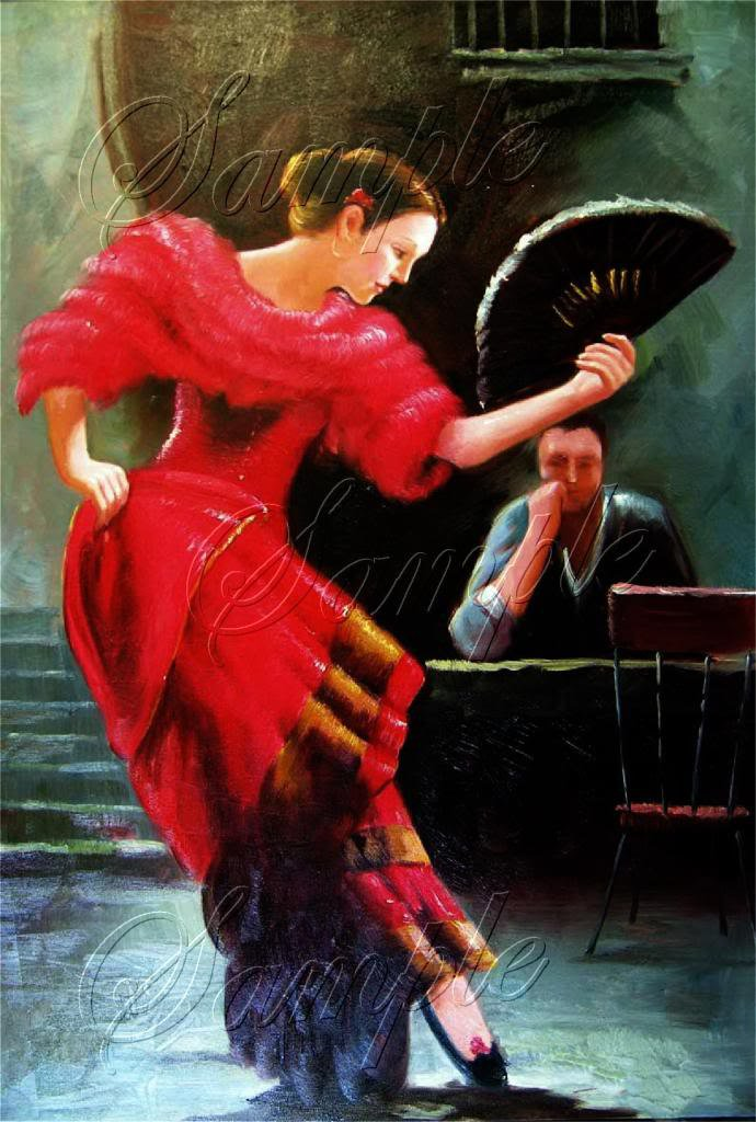 FLAMENCO DANCER SPANISH DANCE FAN CAFE CANVAS ART PRINT