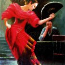 FLAMENCO DANCER SPANISH DANCE FAN CAFE CANVAS ART- BIG