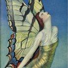 ART DECO GIRL BUTTERFLY BUTTERFLIES LADY CANVAS PRINT