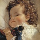 VINTAGE SLEEP BABY CURLS ANTIQUE DOLL CANVAS ART -LARGE