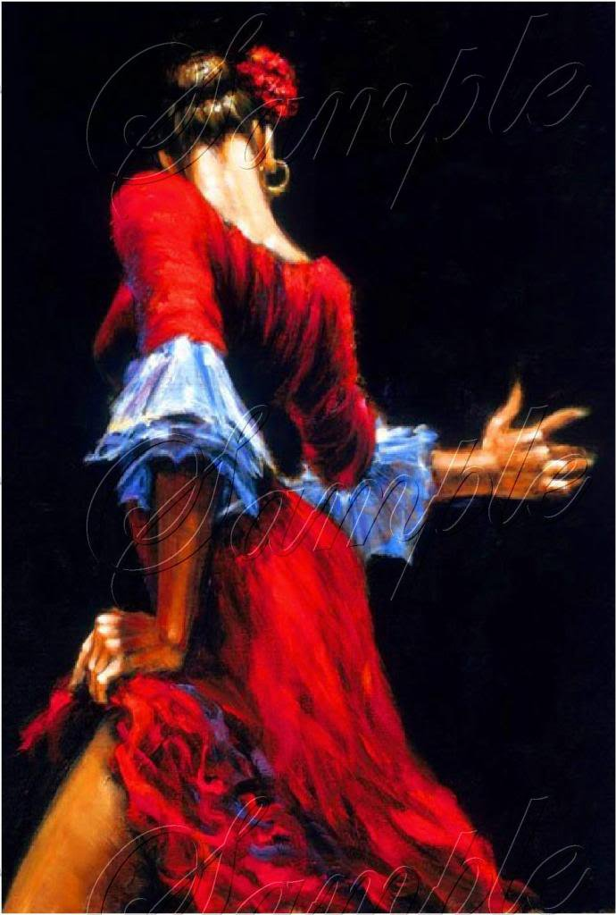 FLAMENCO DANCER SPANISH DANCE RED DRESS CANVAS ART- BIG