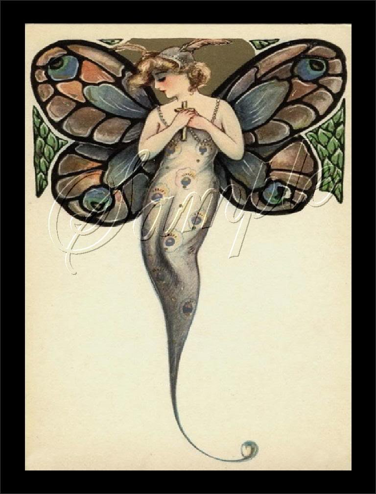 ART DECO BUTTERFLY LADY PEACOCK WINGS CANVAS ART- LARGE