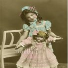 ANTIQUE WALKING DOLL GIRL OLD PHOTO CANVAS ART PRINT