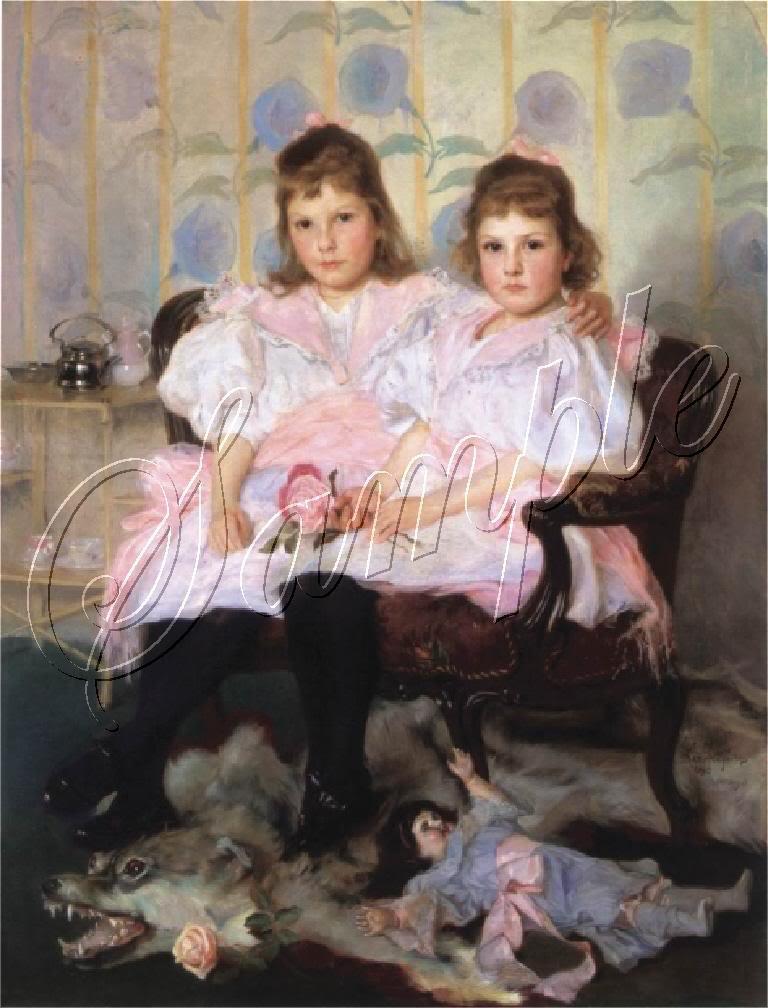 VINTAGE SISTERS GIRLS ANTIQUE DOLL BEAR CANVAS ART -BIG