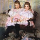 VINTAGE SISTERS GIRLS ANTIQUE DOLL BEAR CANVAS ART -BIG