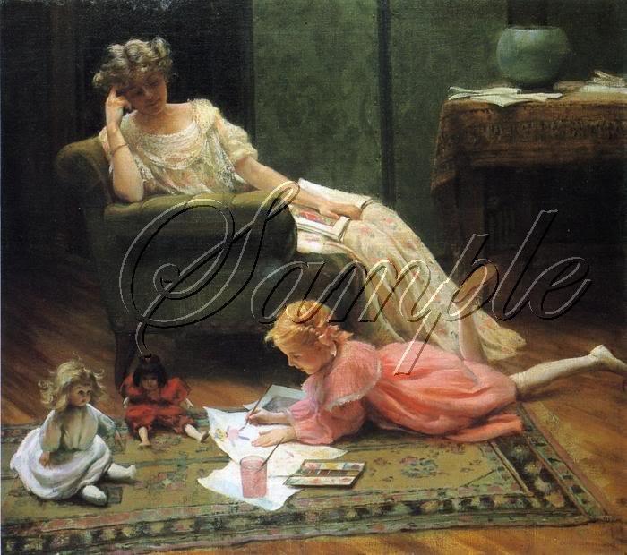 VINTAGE MOTHER CHILD ARTIST ANTIQUE DOLLS CANVAS ART
