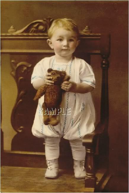 ANTIQUE STEIFF TEDDY BEAR CHILD PHOTO CANVAS ART PRINT