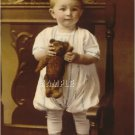 ANTIQUE STEIFF TEDDY BEAR CHILD PHOTO CANVAS ART PRINT