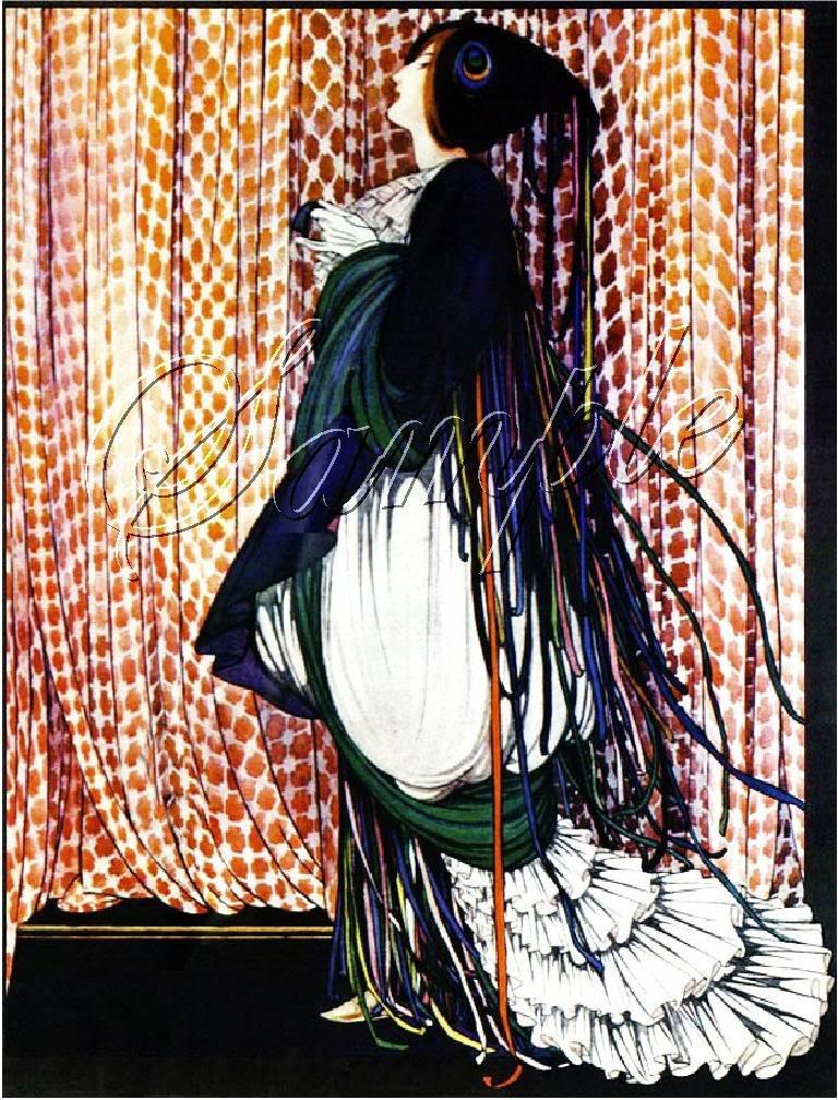 ART DECO NOUVEAU PEACOCK LADY COSTUME BIRD CANVAS PRINT