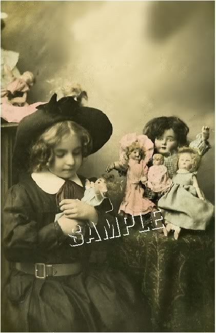 VINTAGE GIRL ANTIQUE DOLLS PHOTOGRAPH CANVAS ART PRINT