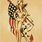 VINTAGE TATTOO PINUP GIRL SAILOR NAVY CANVAS ART PRINT