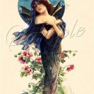 VINTAGE PRETTY WITCH WICCA BAT LADY CANVAS ART PRINT