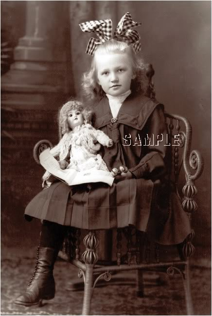ANTIQUE DOLL CHILD GIRL PHOTOGRAPH CANVAS ART PRINT BIG