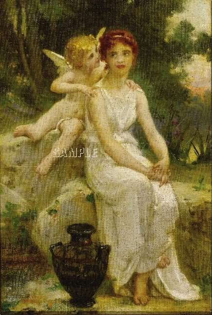 VINTAGE LADY MAIDEN ANGEL CUPID WHISPER CANVAS PRINT