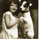 VINTAGE JACK RUSSELL TERRIER DOG GIRL CANVAS PRINT BIG