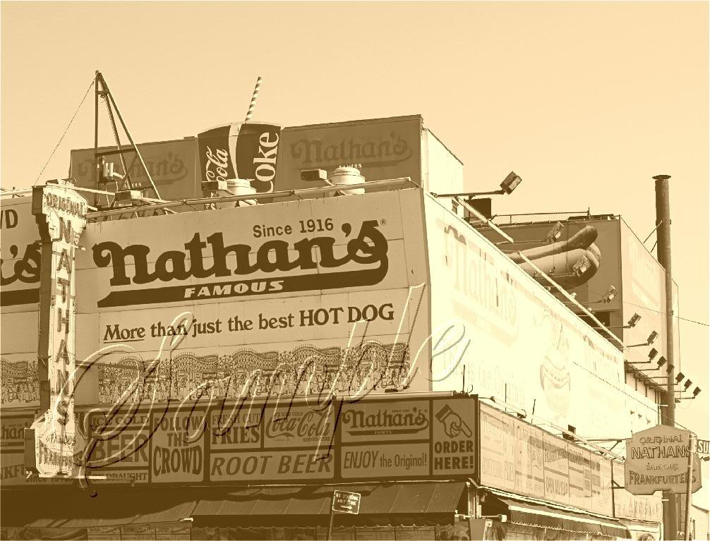 NATHANS HOT DOGS RESTURANT CONEY PHOTO CANVAS ART-LARGE