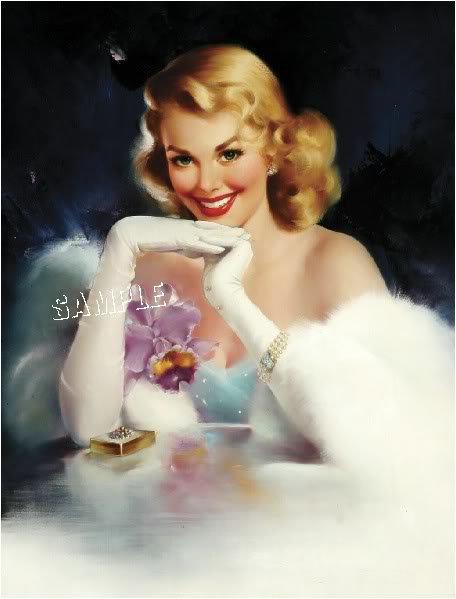 1930s VINTAGE PIN-UP GIRL ANTIQUE JEWELS CANVAS ART BIG