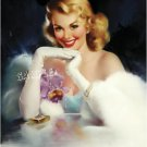 1930s VINTAGE PIN-UP GIRL ANTIQUE JEWELS CANVAS ART BIG