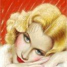 1930s SEXY BLONDE CALENDAR GIRL CANVAS ART PRINT LARGE