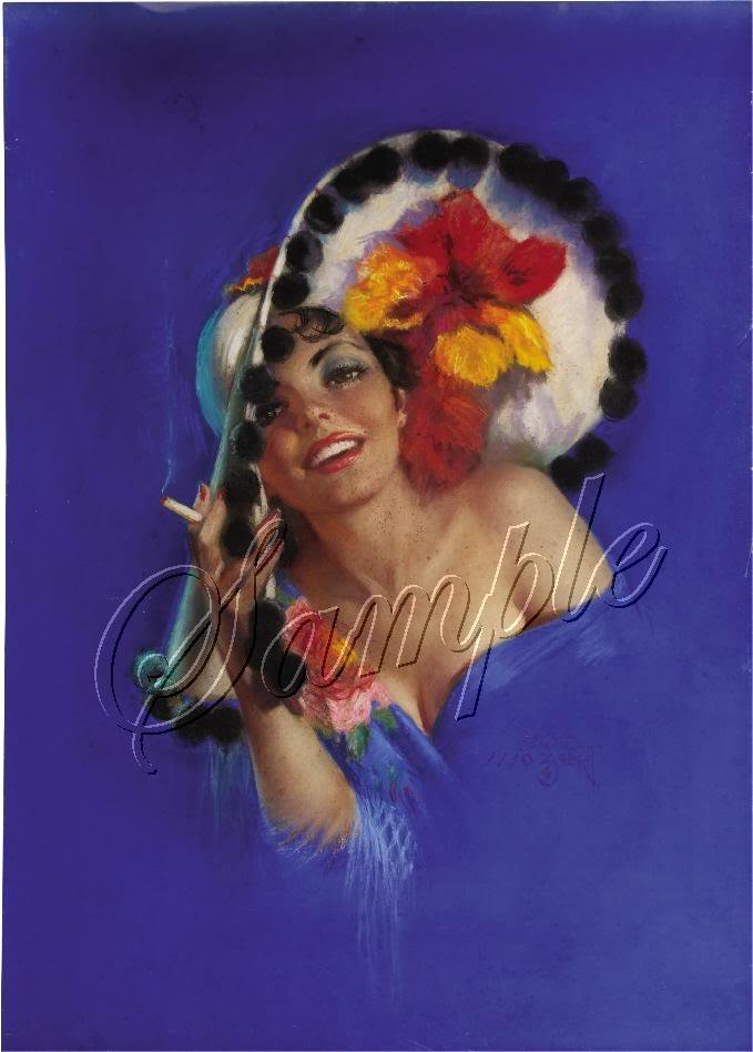 1930s PIN-UP GIRL FLOWER HAT SEXY CANVAS ART PRINT BIG