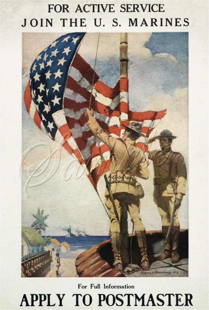 WAR US MARINES SOLDIERS FLAG RECRUITING CANVAS PRINT