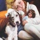 VINTAGE CHILD ANTIQUE DOLL PUPPY SLEEP CANVAS ART PRINT
