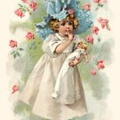 VINTAGE GIRL ANTIQUE DOLL SLEEPING CANVAS ART PRINT