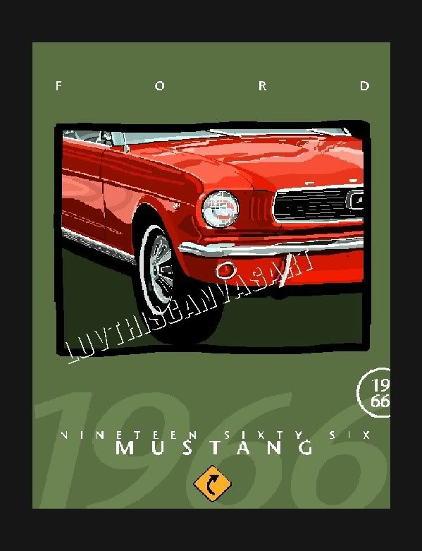1966 FORD MUSTANG CLASSIC CAR RED CANVAS ART PRINT