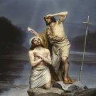 VINTAGE CHRIST BAPTISM RELIGIOUS CANVAS ART PRINT