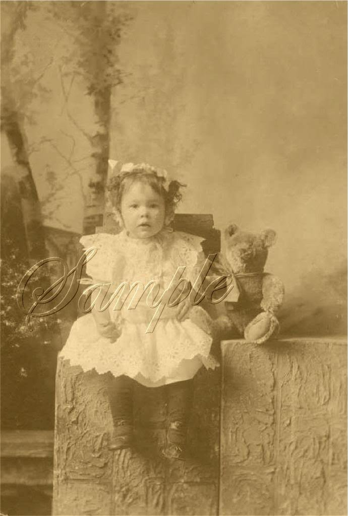 ANTIQUE PHOTO TEDDY BEAR GIRL CHILD CANVAS ART PRINT