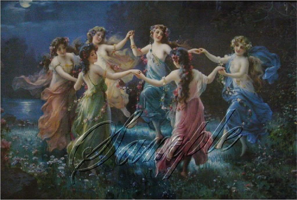 VINTAGE DANCING NYMPHS GODDESS CHERUB CANVAS PRINT-BIG