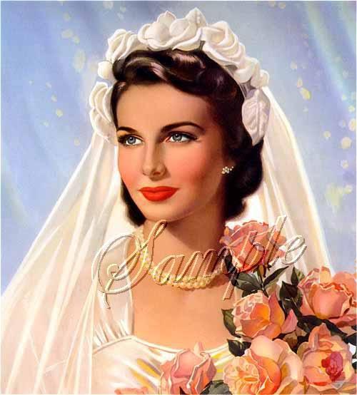 VINTAGE BRIDE ROSE BOUQUET PIN UP GIRL CANVAS ART PRINT