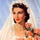 VINTAGE BRIDE ROSE BOUQUET PIN UP GIRL CANVAS ART PRINT
